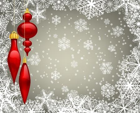 snow falling: Sfondo Natale con Bagattelle e fiocchi di neve