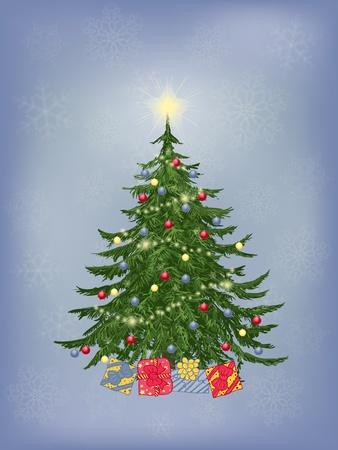 neige qui tombe: Arbre de Noël avec décoration et cadeaux