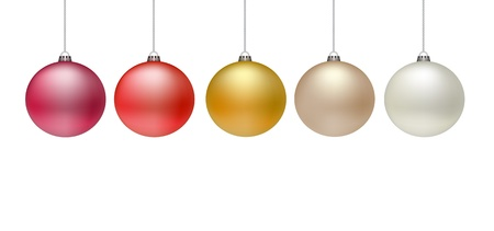 5 Christmas baubles on white background