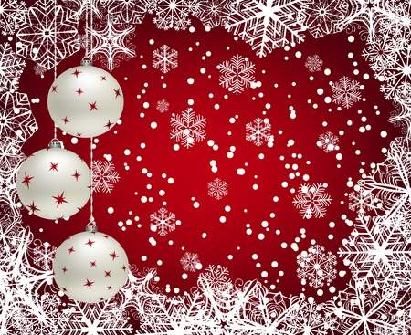 christmas backgrounds: Christmas background with baubles and frame of snowflakes Illustration