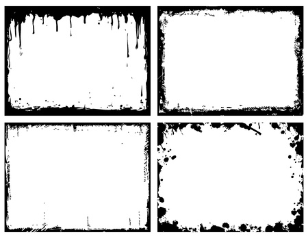 paint peeling: set of 4 grunge frames Illustration