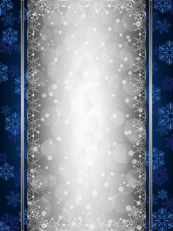 silver stars: Blue Christmas background with decorative snowflake borders