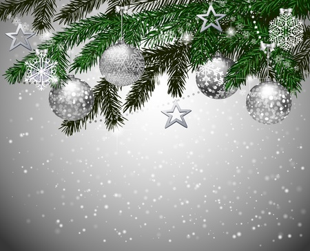 adornos navideños: Ramas de abeto con decoración navideña