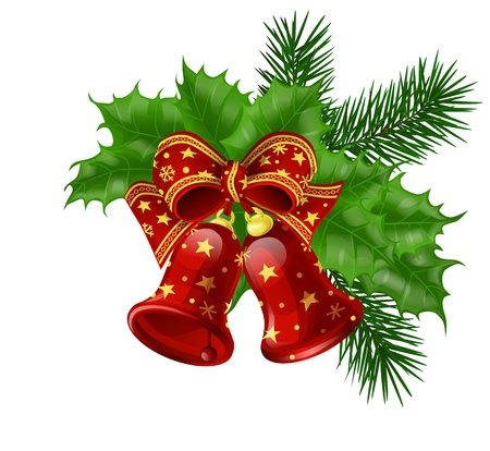 Christmas bells with ribbon, fir branches and holly leaves Stock Illustratie