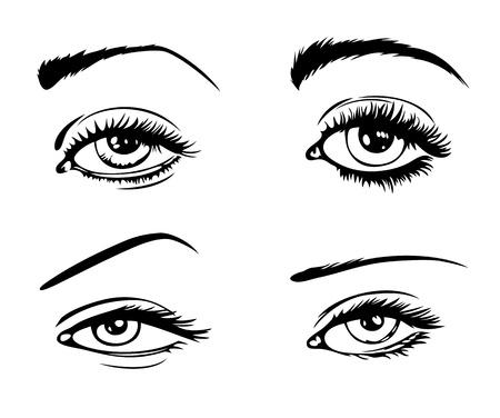 ojos caricatura: conjunto de cuatro ojos femeninos