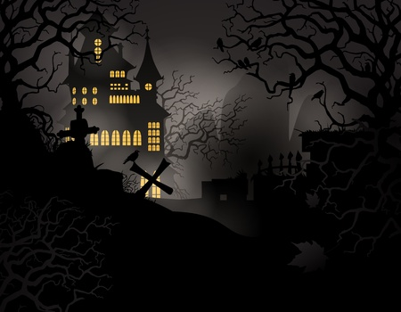 raven: Halloween background with haunted house and graveyard