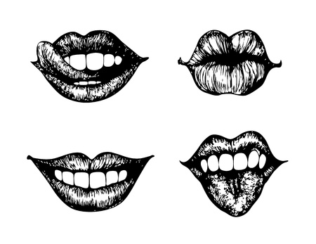 boca: juego de 4 labios femeninos Vectores
