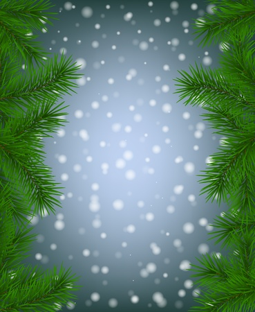 Fir branches and falling snow Vector