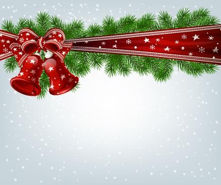 campanas navide�as: Campanas de Navidad, ramas de abeto y cinta Vectores