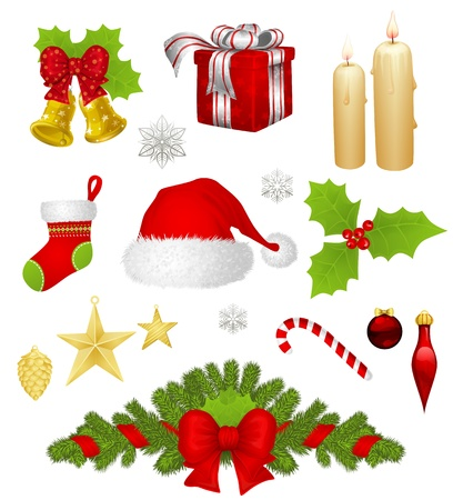 Collection of different Christmas items Vector