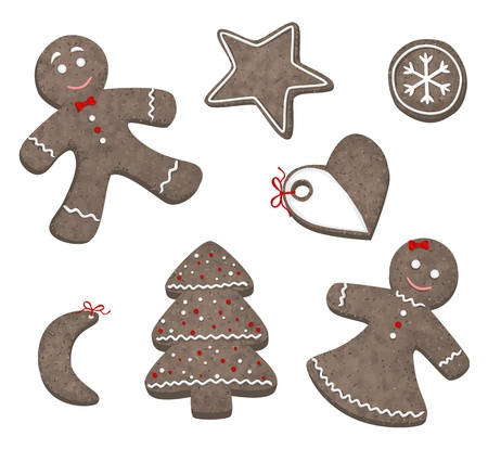 gingerbread heart: Collection of different Christmas cookies Illustration