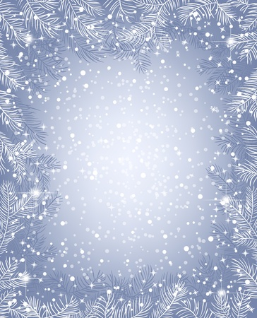 Frame of fir branches and falling snow Vector