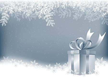 background box: Winter background with Christmas present