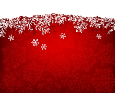 snow falling: Christmas background with fir branches and snowflakes