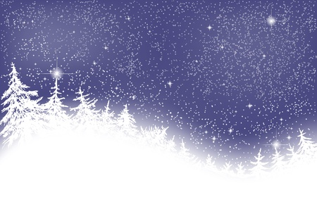 Winter night with fir trees and stars Stock Illustratie
