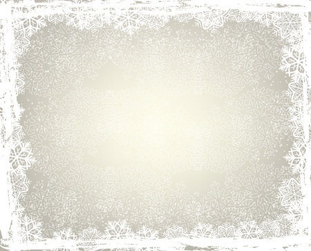 Winter background with snowflake frame