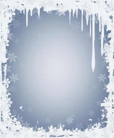 つらら: つららと雪のフレーム  イラスト・ベクター素材