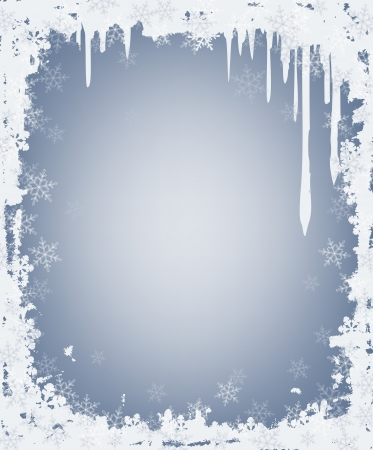 snow falling:  ghiaccioli e cornice dei fiocchi di neve