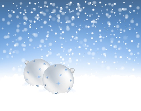 winter background with   Christmas baubles Vector