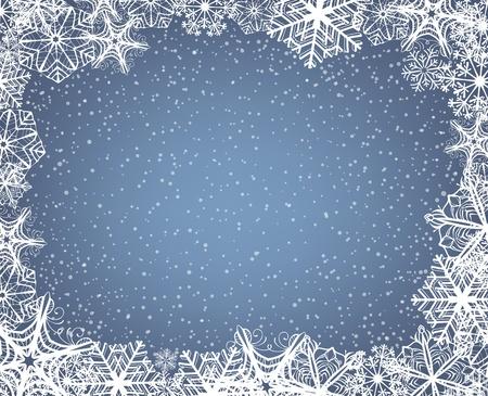 눈송이의 프레임과 떨어지는 눈과 크리스마스 배경 일러스트
