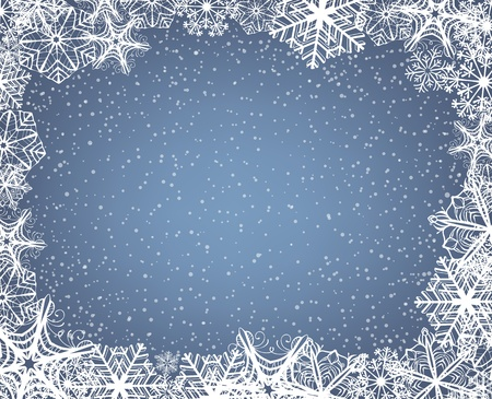 snowflake border: Christmas background with frame of snowflakes and falling snow