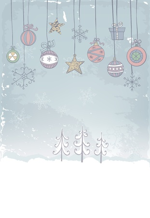 Hand -drawn Christmas decoration on grunge background Vector