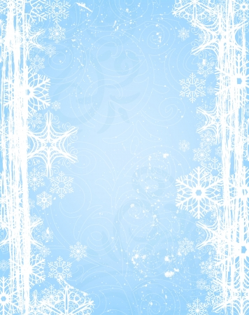 snow falling:  Christmas background with snowflake border