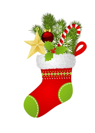 christmas sock: Christmas sock with fir branch, star, candy cane, snowflakes and Christmas ornament Illustration