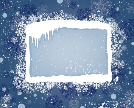 Winter background with label , icicles and snowflakes Stock Illustratie