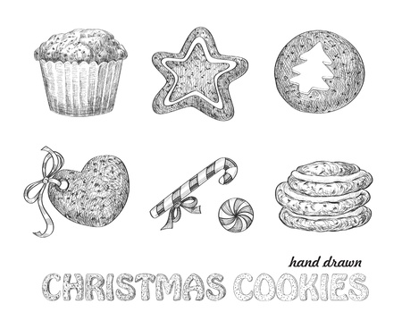 Collection of hand drawn Christmas cookies Vector