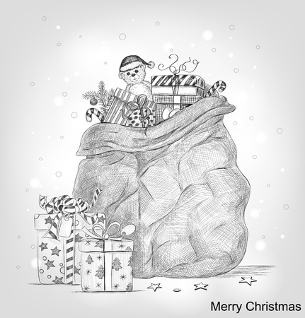 Hand drawn bag full of Christmas gifts Stock Illustratie