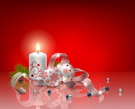 Christmas background with candle, baubles and ribbon Vector
