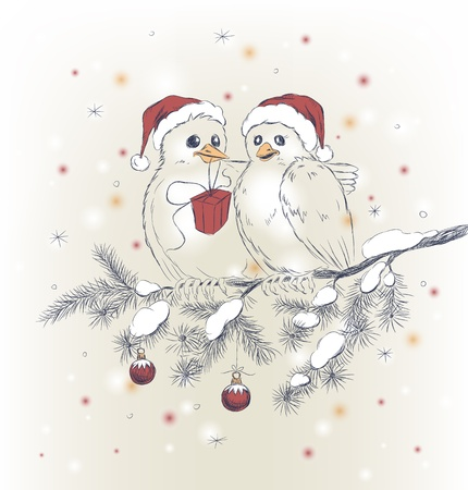 Two cute birds with Christmas hats on fir branch Vector