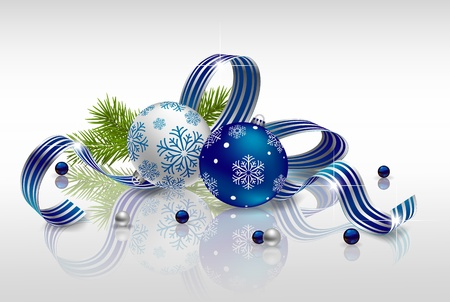 Christmas background with baubles, fir branches and ribbon Vector