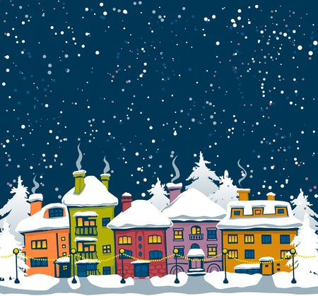 Winter night with houses and fir trees Stock Illustratie