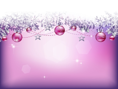 silver balls:  Christmas background with baubles, stars and garlands