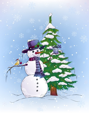 Snowman and bird holding Christmas gifts Vector