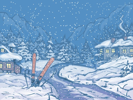 Winter night scene with houses and falling snow