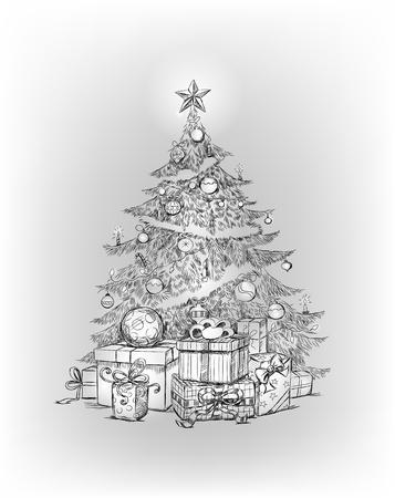 Dibujado a mano del árbol de Navidad y regalos