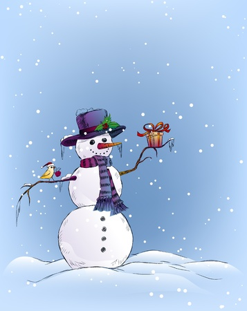 Snowman and bird holding Christmas gifts Stock Illustratie