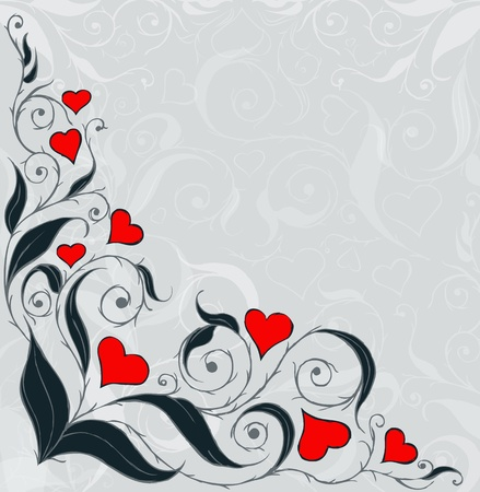 floral background with red hearts Vector