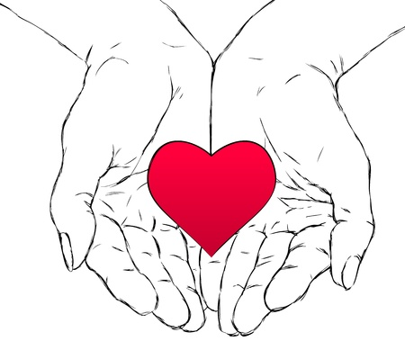 cupped: female hands holding red heart