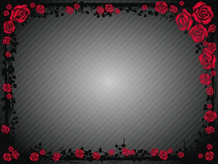 ornamental bush: Gray background with frame of red roses Illustration