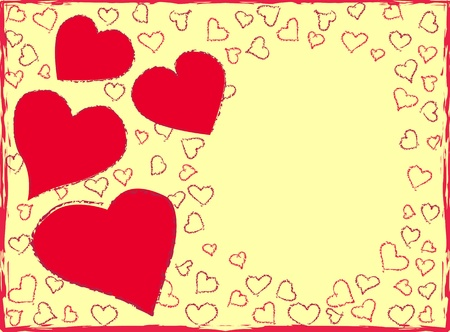 crayon drawing: Red hearts on yellow background Illustration