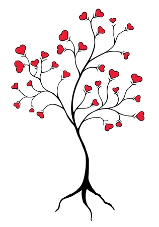 illustration of tree with heart shaped red leaves Vector