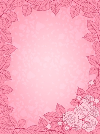 Pink background with rose frame Stock Vector - 11877055