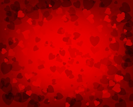 red background with scattered hearts