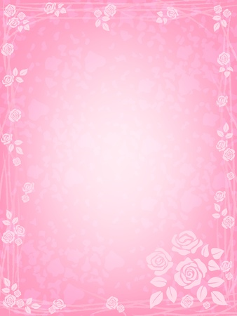 romantic background with pink roses Illustration