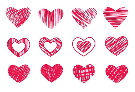 12 Hearts isolated on white
