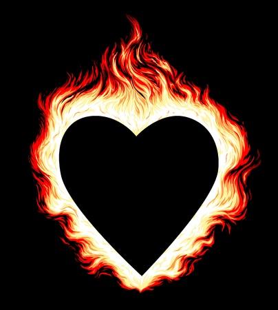 Illustration of burning heart shape on black background Ilustração